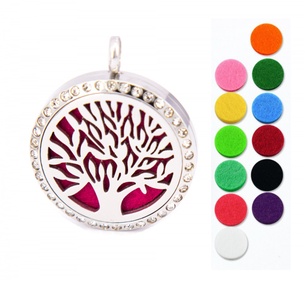 Aromatherapie - Anhänger Lebensbaum 30mm inkl. Halskette - für ätherisches Öl - Material Edelstahl